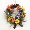 造花 リボンが華やかなハロウィンパンプキンリース シルクフラワーr CT触媒 かぼちゃ