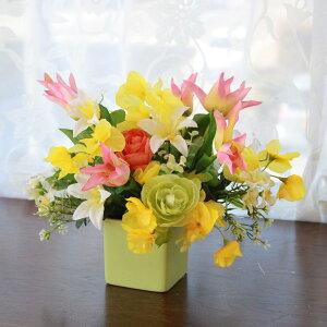造花 チューリップとスイートピーの春のアレンジ シルクフラワー CT触媒 光触媒
