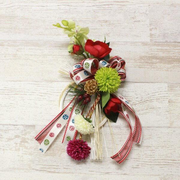 造花 椿やミントグリーンの胡蝶蘭の小さめお正月飾りリース しめ縄 しめ飾り 玄関飾り シルクフラワー CT触媒