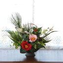 造花 若松と椿のお正月アレンジ しめ縄 しめ飾り 玄関飾り シルクフラワー CT触媒
