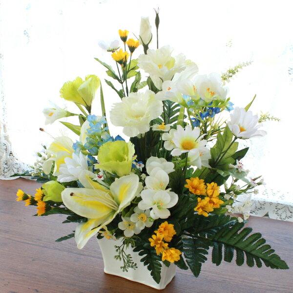 造花 仏花 想い出多いお母さんへ 白いタイガーリリーのアレンジ CT触媒 シルクフラワー お彼岸 お盆 お仏壇 仏花 お墓 花 お供え