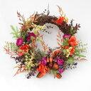 造花 ペーパーベリーとコスモスの秋色リース シルクフラワーr CT触媒