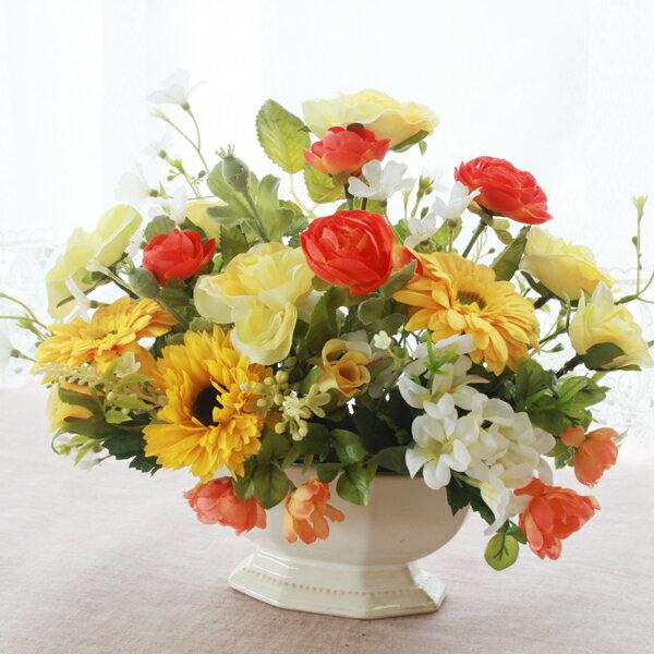 造花 ドレスローズとガーベラの元気が出るビタミンカラーのアレンジ シルクフラワーr CT触媒