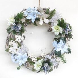 造花 クレマチスやポインセチアのボリュームのあるリース クリスマス CT触媒