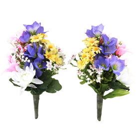 造花 仏花 紫の桔梗と菊の小花束一対 シルクフラワー お彼岸 お盆 お仏壇 仏花 お墓 花 お供え