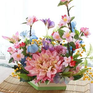 桜 造花 チェリーとスイートピーの春のアレンジ さくら 造花 シルクフラワー CT触媒 光触媒