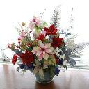 造花 ピンクのポインセチアとシルバー・ゴールド添え花のクリスマスアレンジ CT触媒 クリスマス