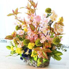 造花 桜と菜の花とポンポンマムの豪華な春のアレンジ CT触媒 シルクフラワー