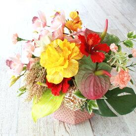 造花 ハイビスカスとアンスリウムのやさしいピンクのアレンジ 夏 シルクフラワー CT触媒