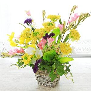 造花 菜の花とスイートピーのバスケットアレンジ フリージア 菜の花 シルクフラワー CT触媒 光触媒