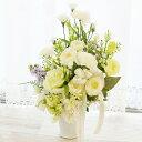 造花 仏花 亡き母に贈る 白いカーネーションとトルコキキョウのアレンジ 母の日 お供え カーネーション CT触媒 シルクフラワー