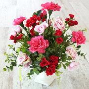 造花ピンクカラーに赤いバラがそっと寄り添うアレンジ母の日ギフトカーネーションCT触媒シルクフラワー