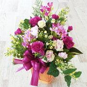 造花パープルのカーネーションと白いバラのアレンジ母の日ギフトカーネーションCT触媒シルクフラワー