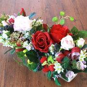 造花アレンジ2色のバラとベリーの横長アレンジ母の日ギフトバラCT触媒シルクフラワー