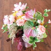 造花シンビジュームとアマランサスのやわらかな色合いのアレンジ母の日ギフトカーネーションCT触媒シルクフラワー
