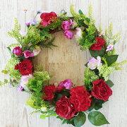 造花アレンジカーネーションとバラのリースアレンジ母の日ギフトカーネーションCT触媒シルクフラワー