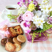 母の日造花スイーツハートポットにミニオーキッドとラナンキュラスのキュートなアレンジとスイーツ6種セット花ギフトセットCT触媒シルクフラワー