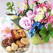 母の日造花スイーツトルコキキョウとジーアスターの小花のアレンジとスイーツ9種セット花ギフトセットCT触媒シルクフラワー