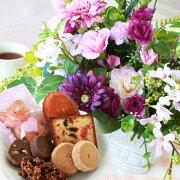 母の日造花スイーツ3色のミニガーベラとカーネーションのアレンジとスイーツ15種セット花ギフトセットCT触媒シルクフラワー
