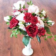 造花バラとデージーの白い陶器のスタンド型アレンジ母の日ギフトカーネーションCT触媒シルクフラワー