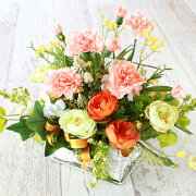 造花アレンジピーチカーネーションとラナンキュラスのワイヤーかごアレンジ母の日ギフトカーネーションCT触媒シルクフラワー