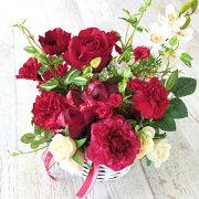 造花アレンジアネモネと赤いバラのバスケットアレンジ母の日ギフトカーネーションCT触媒シルクフラワー