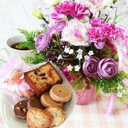 母の日造花スイーツラナンキュラスとミニバラのエンブレムポットのアレンジとスイーツ6種セット花ギフトセットCT触媒シルクフラワー