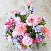 造花パステルピンクのバラとガーベラのアレンジ母の日ギフトカーネーションCT触媒シルクフラワー