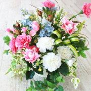 造花ピンクの小バラとカーネーションのバスケットアレンジ母の日ギフトカーネーションCT触媒シルクフラワー