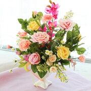 造花シンビジュームとピーチカーネーションの華やかなアレンジ母の日ギフトカーネーションCT触媒シルクフラワー