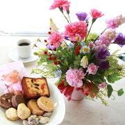母の日造花スイーツピンクのカーネーションとムスカリのアレンジとスイーツ9種セット花ギフトセットCT触媒シルクフラワー