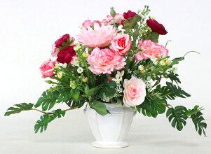 造花ピーチカラーのガーベラとラナンキュラスのアレンジ母の日ギフトカーネーションCT触媒シルクフラワー