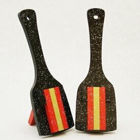 レインボースペシャル(よさこい鳴子)黒台-赤・金メタリック・赤角取り仕上げ