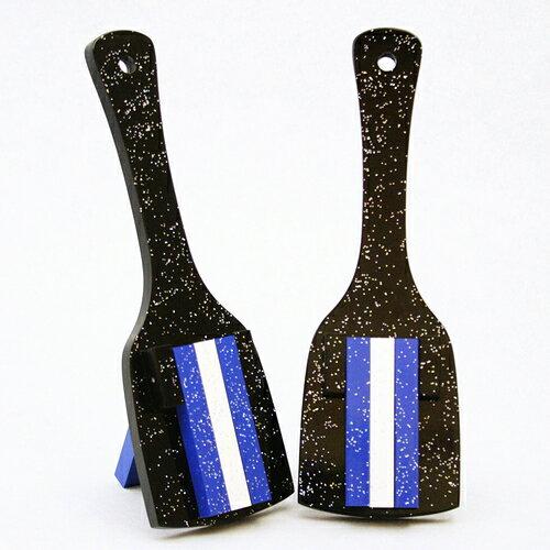 レインボースペシャル(よさこい鳴子)黒台-青・白・青 角取り仕上げ