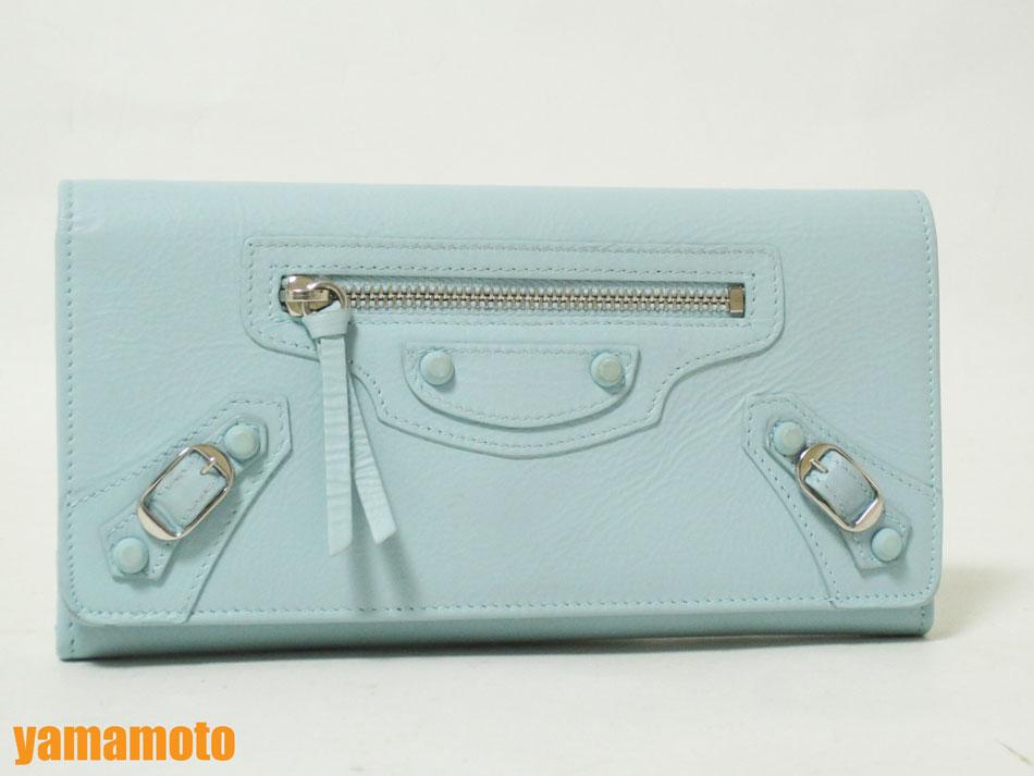 BALENCIAGA バレンシアガ 長財布 レディース 163471 ライトブルー 美品 【中古】