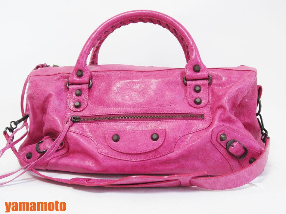 BALENCIAGA バレンシアガ 2WAYバッグ ザ・ツイッギー ショルダーバッグ ハンドバッグ ピンク ミラー 128523 美品【中古】