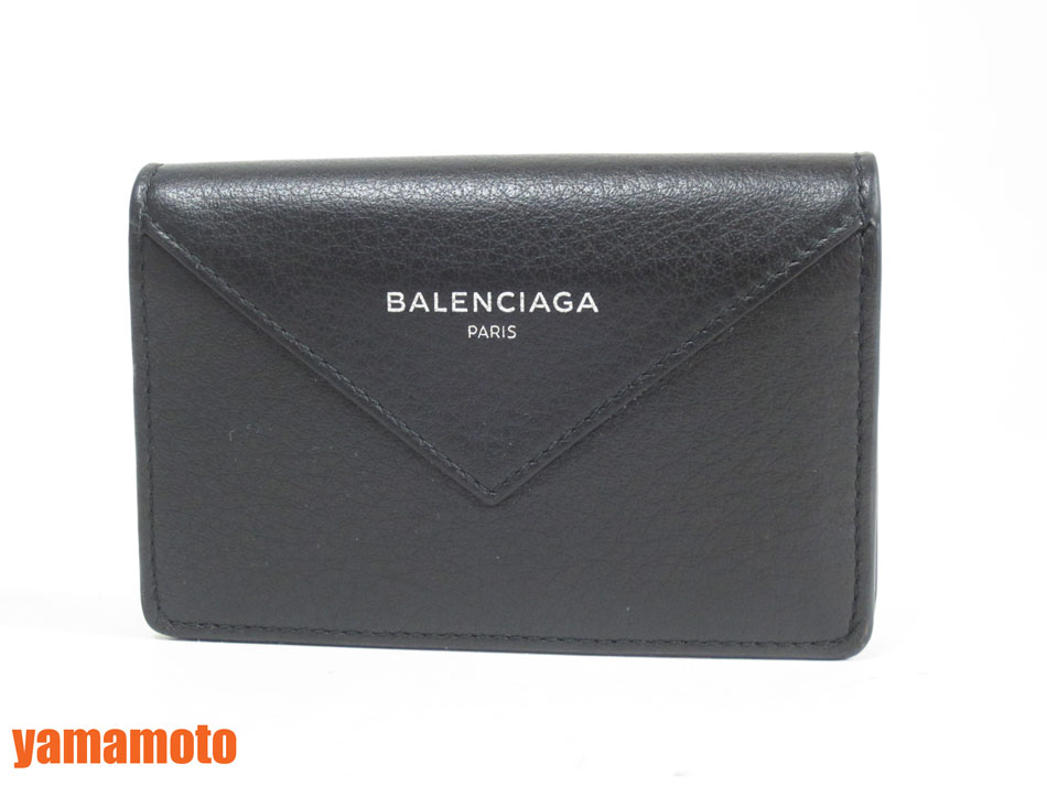 BALENCIAGA バレンシアガ カードケース ブラック レザー 490616 新品同様【中古】