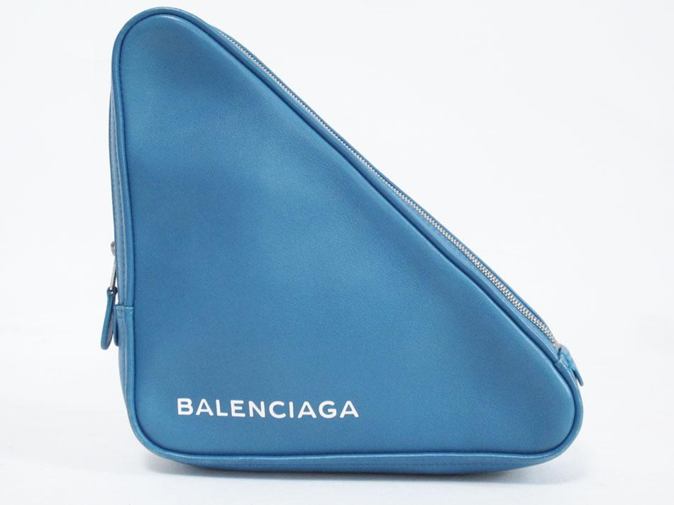 BALENCIAGA バレンシアガ TRIANGLE トライアングル クラッチバッグ セカンドバッグ M レザー ブルー 476976【中古】