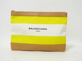 BALENCIAGA バレンシアガ ネイビークリップM クラッチバッグ セカンドバッグ キャンバス レザー イエロー ホワイト 420407 超美品 【中古】
