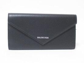 BALENCIAGA バレンシアガ 長財布 2つ折り レザー ブラック ペーパー シン ロングウォレット 499207 美品 【中古】