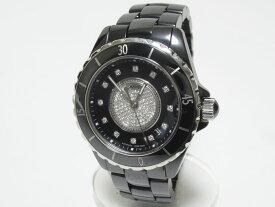 CHANEL シャネル J12 メンズ ウォッチ 腕時計 自動巻き AT ブラック セラミック センターダイヤ 12Pダイヤ H1757 美品 【中古】