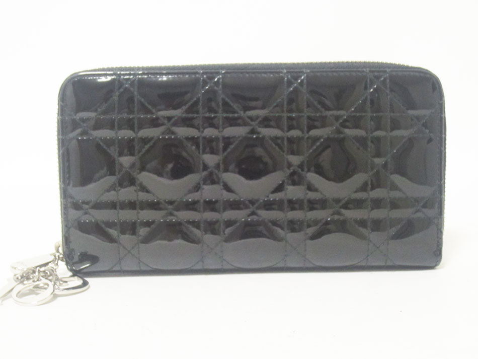 Christian Dior クリスチャン ディオール ラウンドファスナー財布 エナメル ブラック チャーム 新品同様【中古】