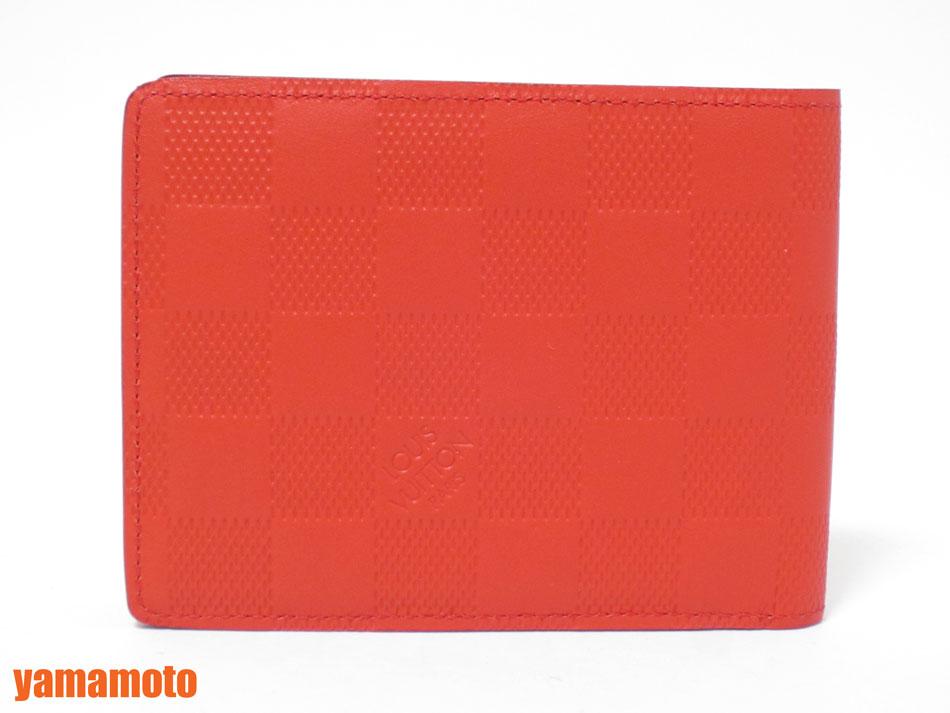 LOUIS VUITTON ルイヴィトン ダミエアンフィニ ポルトフォイユミュルティプル 2つ折り 財布 札入れ メンズ フュージョン オレンジ N63162 新品同様【中古】