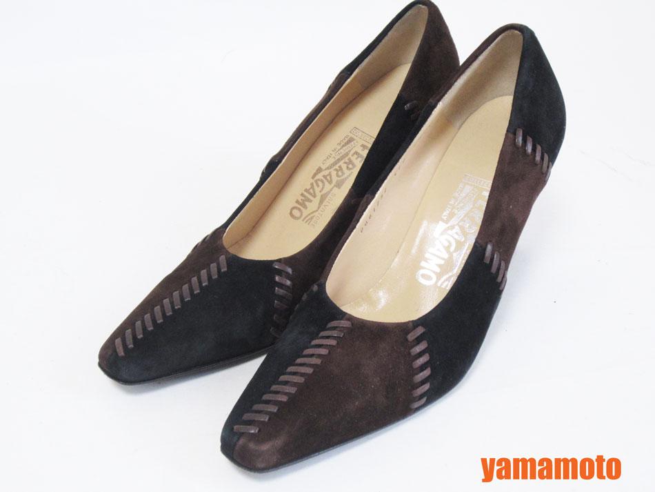 SALVATORE FERAGAMO サルウ゛ァトーレ フェラガモ パンプス レディース 靴 ヒール ブラック ダークブラウン スエード 71/2 C【中古】