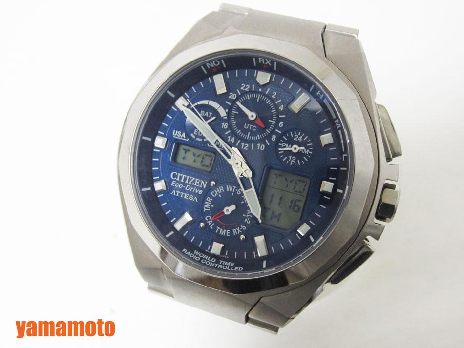 CITIZEN シチズン アテッサ eco-drive エコドライブ メンズウォッチ 電波 腕時計 チタン U600-T011128 美品 【中古】