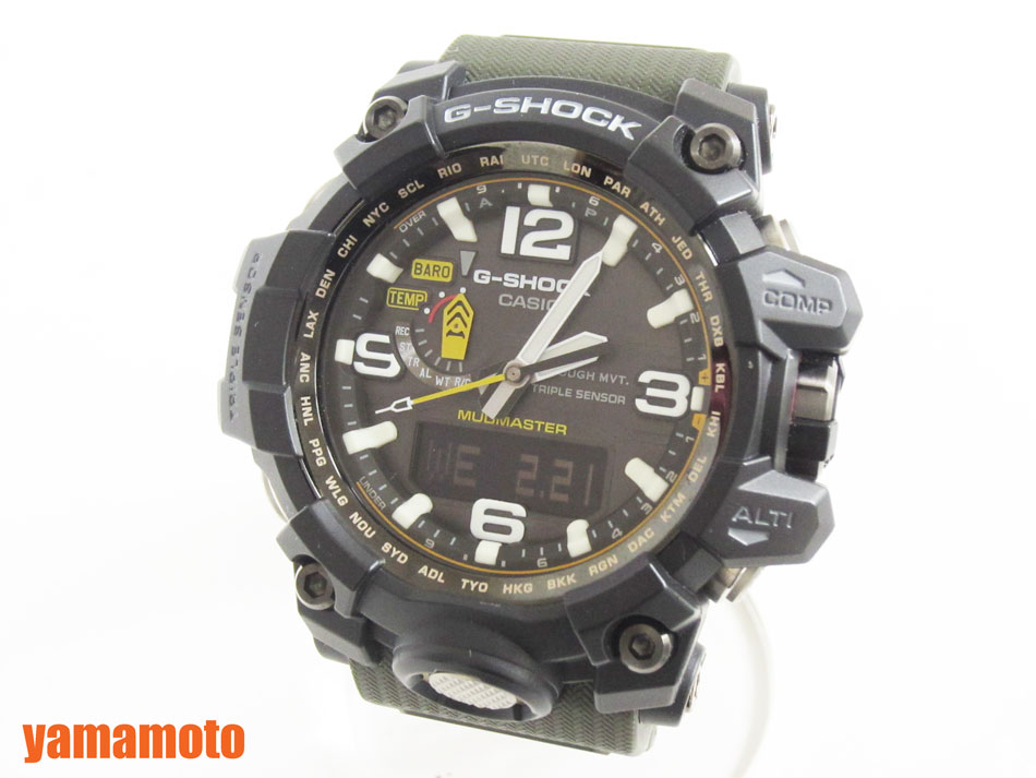 CASIO カシオ MUDMASTER マッドマスター タフソーラー 電波 腕時計 メンズウォッチ GWG-1000-1A3JF 美品 【中古】