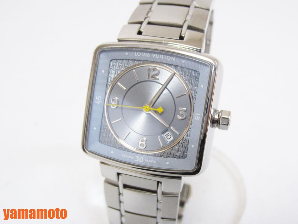 LOUIS VUITTON ルイウ゛ィトン タンブール クォーツ QZ スピーディ レディースウォッチ 腕時計 ブルー Q2211 美品 【中古】