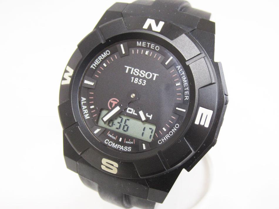 TISSOT ティソ Tタッチ TTOUCH 腕時計 メンズウォッチ ラバーベルト クォーツ 替えベルト ブラック オレンジ T001520A T001.520.47.051.00【中古】