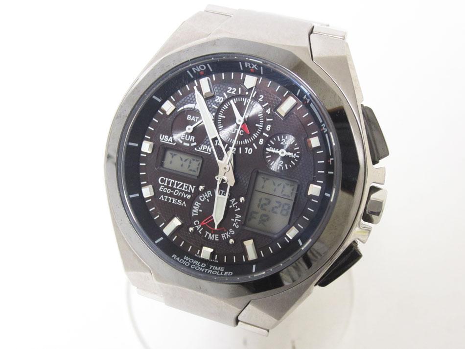 CITIZEN シチズン アテッサ eco-drive エコドライブ メンズウォッチ 電波 腕時計 チタン ATV53-2833 U600-T011497 美品 【中古】