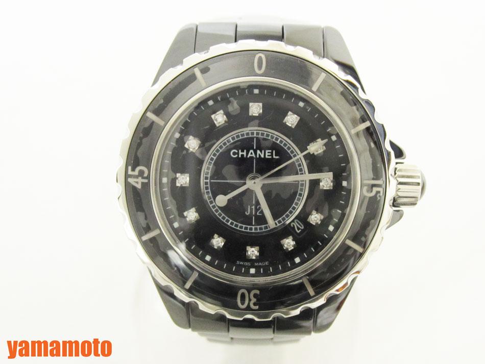 CHANEL シャネル J12 レディース ウォッチ 腕時計 ブラック セラミック 33ミリ 12Pダイヤ クォーツ H1625 新品同様 【中古】